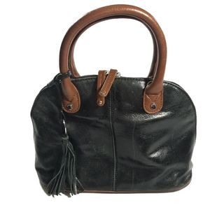 Tignanello Black Leather Mini Bowler Doctor bag